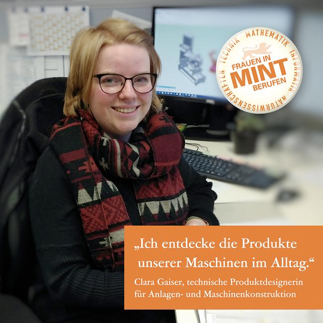 Technik und Kreativität vereint: Clara arbeitet als technische Produktdesignerin für Anlagen- und Maschinenkonstruktion