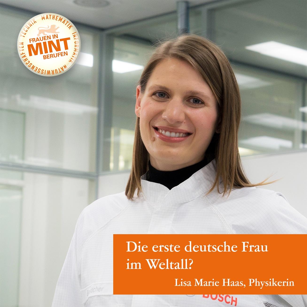 Die Physikerin Lisa Marie Haas lächelt in Arbeitskleidung freundlich in die Kamera. Im Bild ist eine Frage eingeblendet: Die erste deutsche Frau im Weltall?