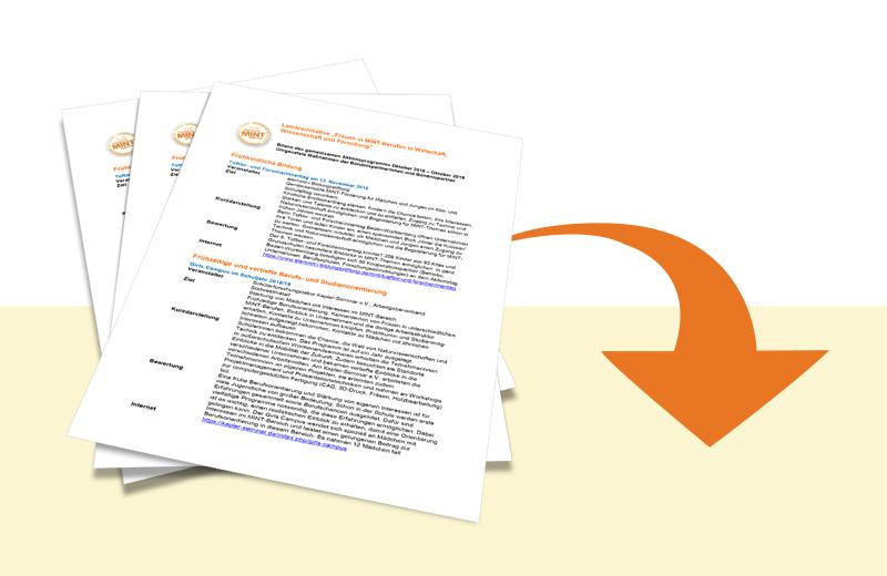 Mit Klick auf dieses Bild können Sie PDF-Datei zu den umgesetzten Maßnahmen 2018/2019 der Landesinitiative Frauen in MINT-Berufen downloaden.