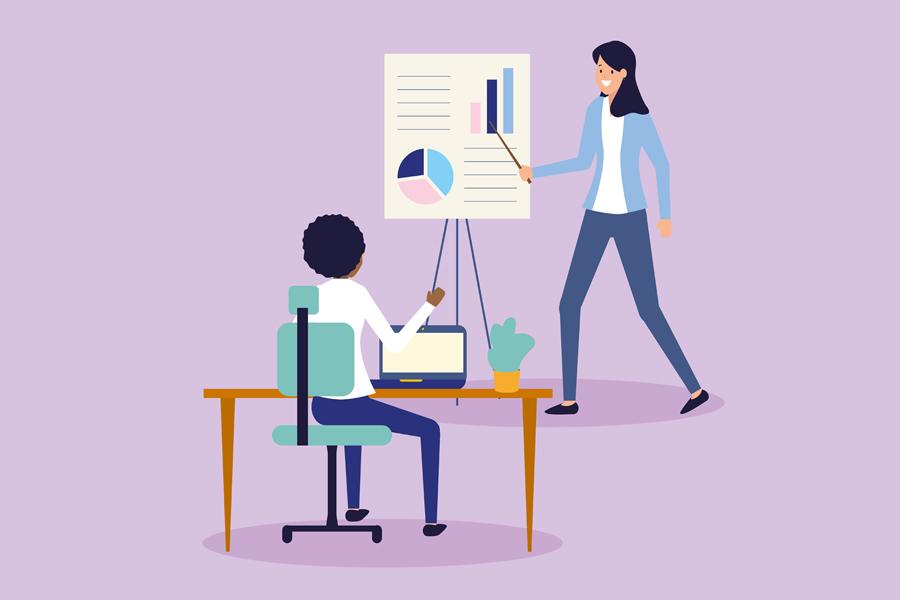Animation einer Frau, die mit Hilfe von Diagrammen an einer Tafel einer anderen Person, die an einem Schreibtisch sitzt etwas erklärt.
