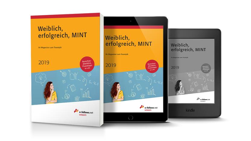 """Die Darstellung des Karrierebuchs """"Weiblich, erfolgreich, MINT"""" als Druckwerk, auf dem Tablet und dem E-Reader."""