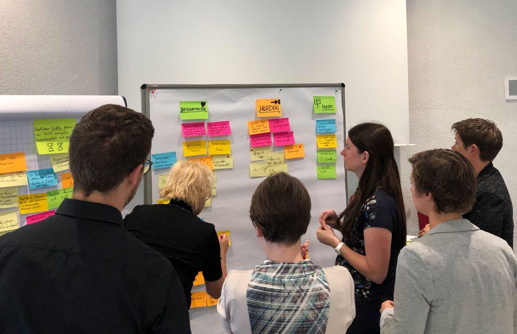 Eine Aufnahme aus dem Design Thinking Workshop, bei der die Teilnehmer beschriftete Karten an ein Whiteboard pinnen.