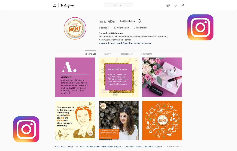 Screenshot des neuen Instagram-Kanals von MINT