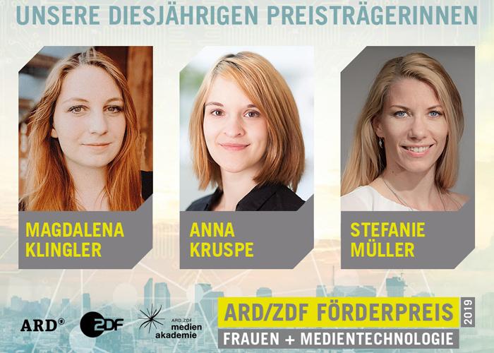 Porträtaufnahme der drei jungen Preisträgerinnen Magdalena Klingler, Anna Kruspe und Stefanie Müller