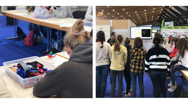 Zwei Detailaufnahmen des Workshops werden gezeigt. Links ein Mädchen an einem Baukasten, rechts eine Gruppe von Mädchen im Kreis.