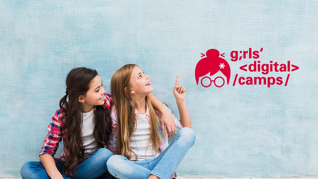 Mit Klick auf dieses Bild von zwei Mädchen gelangen Sie zum Beitrag über Digital Camps.