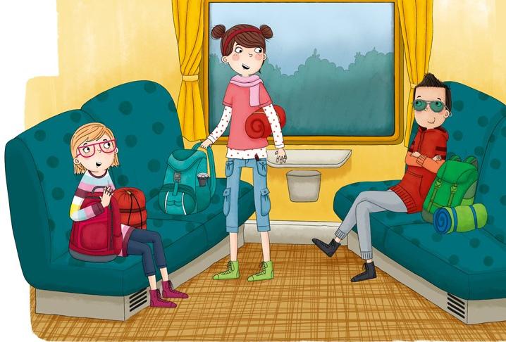 Illustration zeigt 2 Mädchen und eine Frau in einem Zugabteil.
