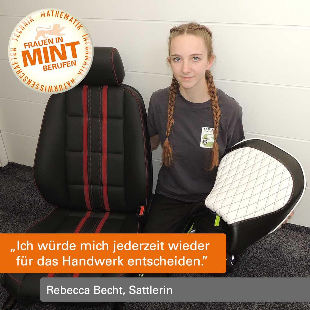 """Die Sattlerin Rebecca Becht präsentiert einen von ihr gefertigten Autositz und einen Reitsattel. Im Bild ist ein Zitat von ihr: """"Ich würde mich jederzeit wieder für das Handwerk entscheiden."""""""