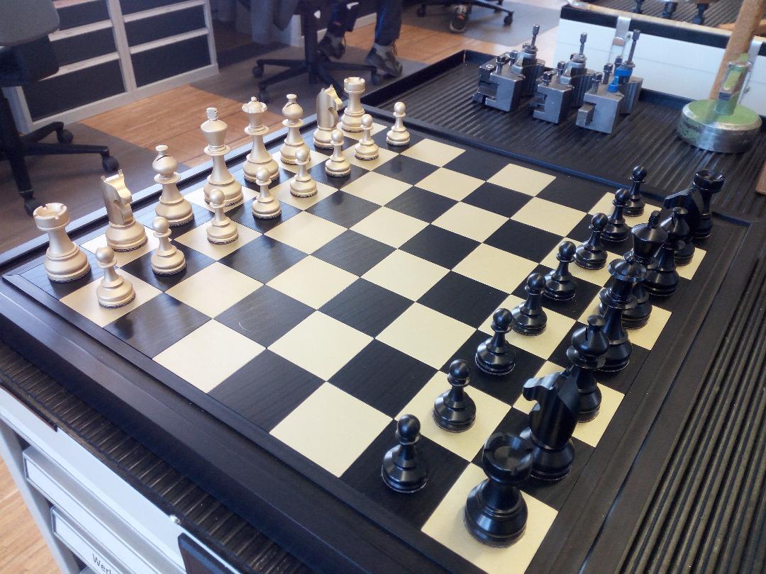 Das von Linda Biermann selbst gebaute Schachspiel mit allen Schachfiguren.