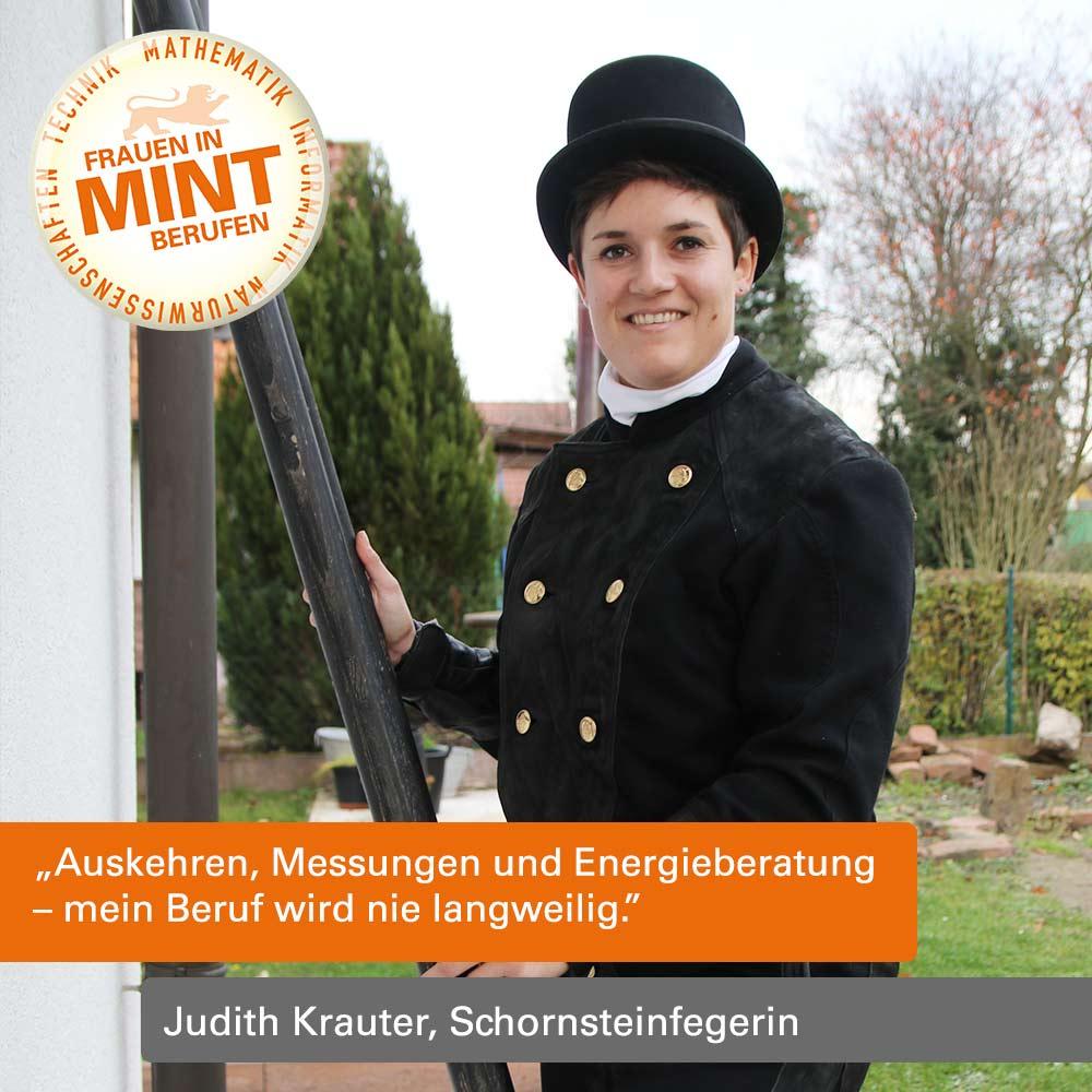 Mit Klick auf dieses Bild gelangen Sie zum Porträt der Schornsteinfegerin Judith Krauter.