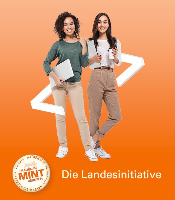 Dieses Keyvisual zeigt zwei junge Frauen mit Laptop, die von Programmierklammern umschlossen sind.