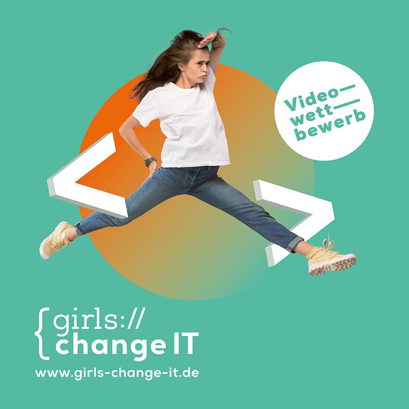 Das Bild zeigt eine junge Frau wie sie nach oben hüpft und Ausschau hält.