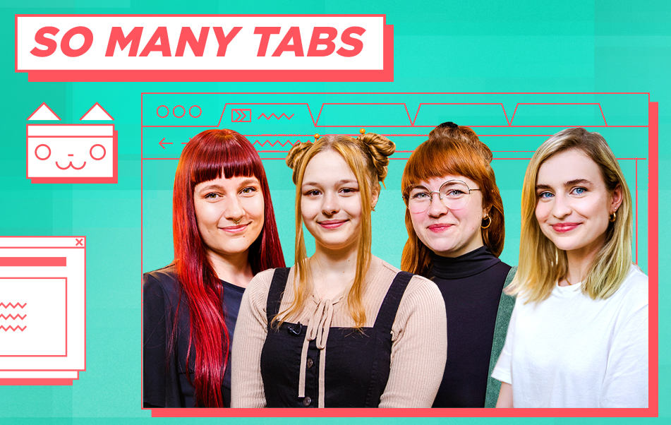 Die vier Moderatorinnen des Formats So Many Tabs im Keyvisual.
