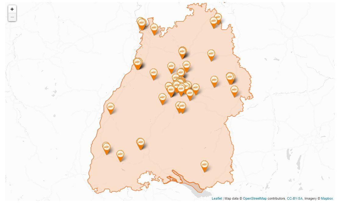 Dieses Bild ist ein Screenshot der MINT-Map und zeigt des Umriss Baden-Württembergs.
