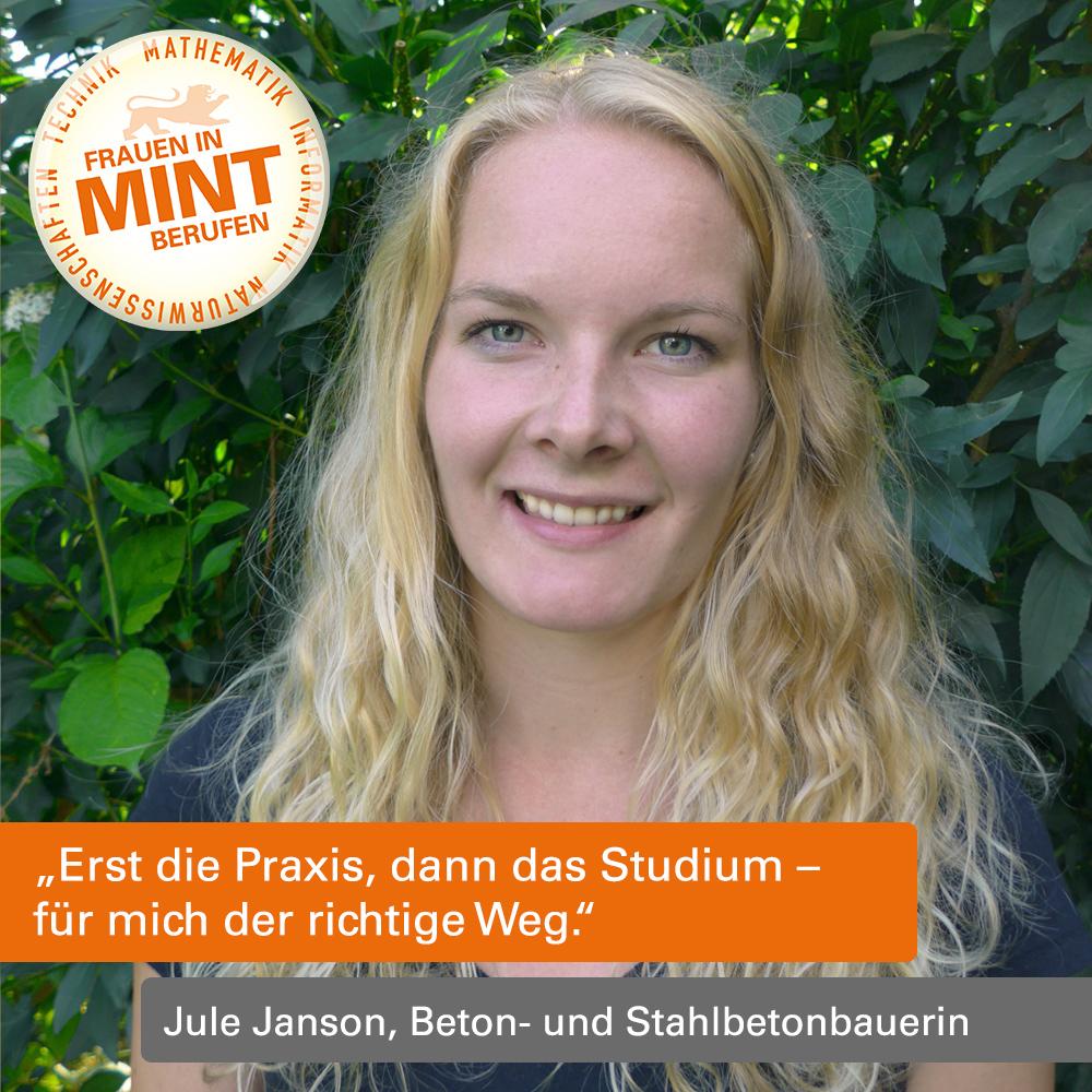 Mit Klick auf dieses Bild der Beton- und Stahlbetonbauerin Jule Janson gelangen Sie zum Porträt.
