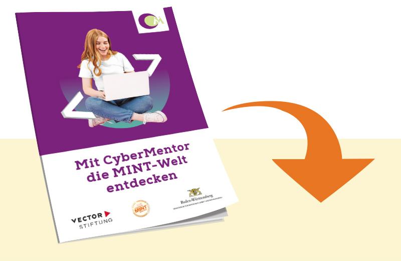 Die Illustration zeigt die PDF-Datei des Cybermentor Flyers als Mockup