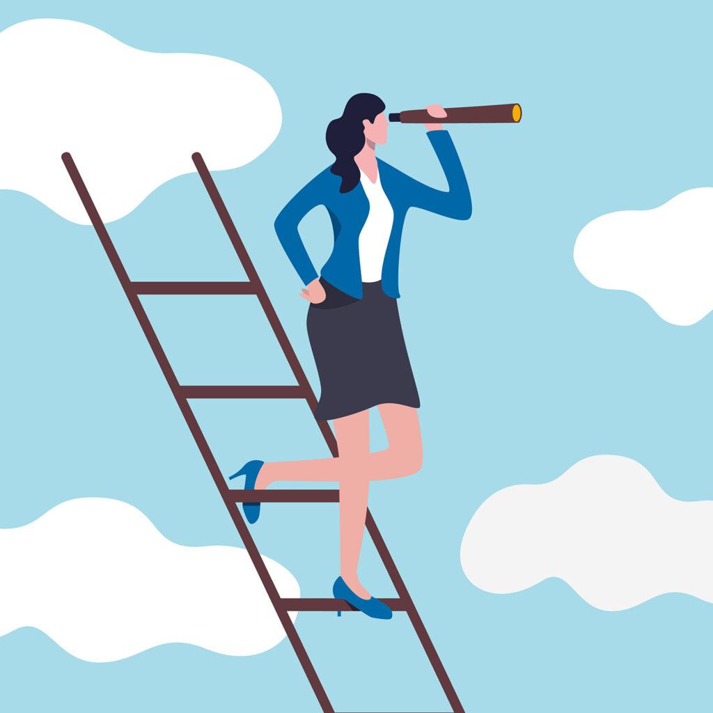 Frau in Rock und mit hohen Schuhen steht auf einer Leiter und schaut mit einem Teleskop in der Hand in die Ferne.