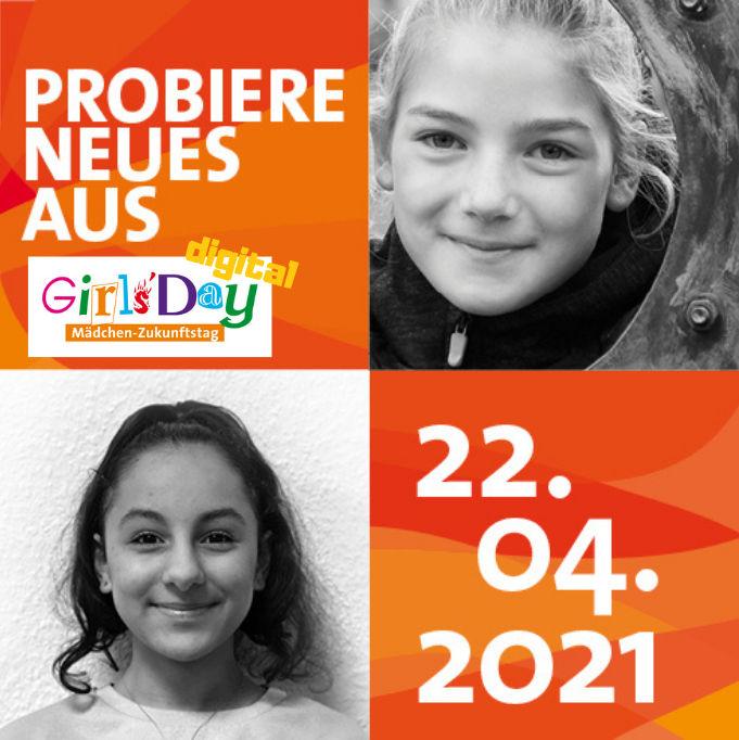 Das Plakat des Girls'Day 2021 zeigt zwei Mädchen und das Datum des Aktionstages.