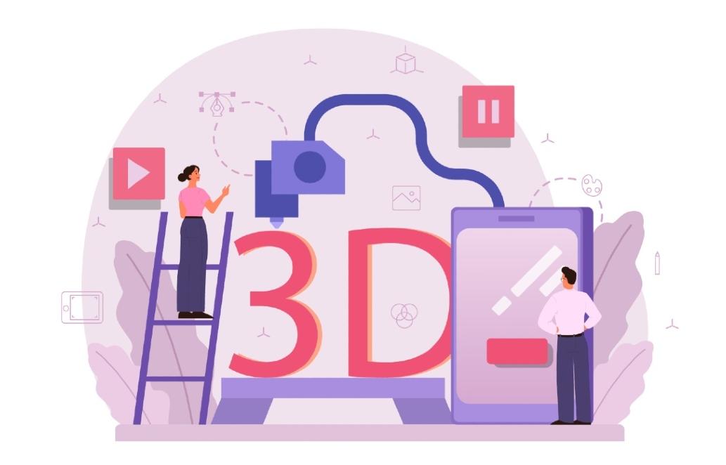Die Illustration zeigt das 3D-Druck Verfahren, welches beim MINT-Cluster Freiburg zum Tragen kam