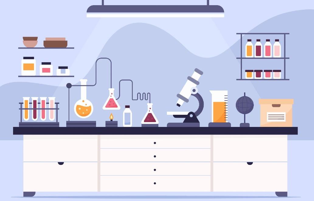 Die Illustration zeigt ein Labor, welches eine Rolle beim MINT-Cluster Heilbronn spielt.