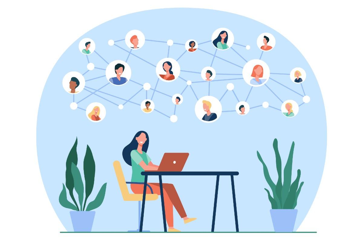 Die Illustration zeigt ein Netzwerk aus Personen was das MINT-Cluster veranschaulichen soll.