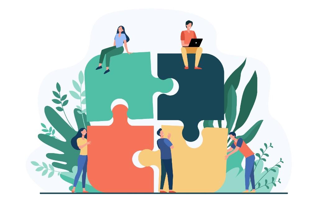 Die Illustration zeigt Puzzleteile, die das MINT-Cluster versinnbildchen