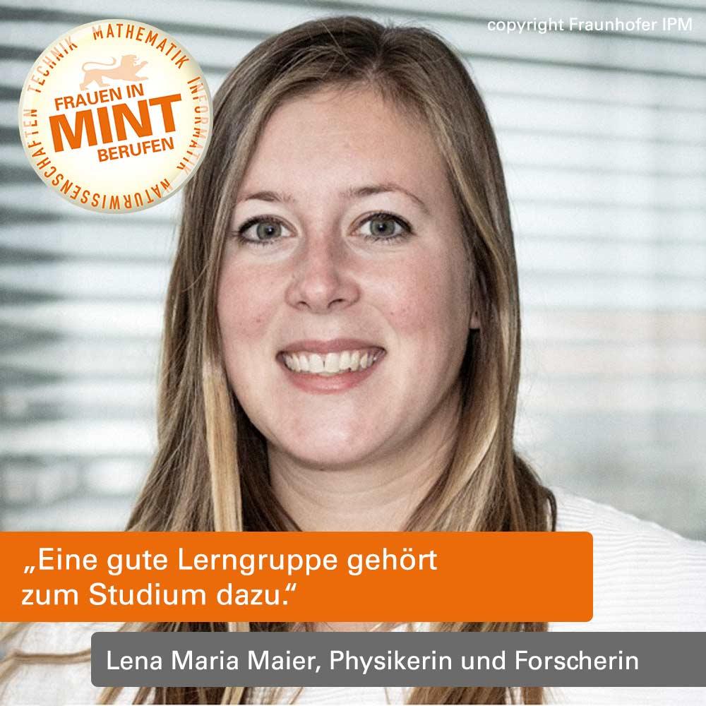 Das Bild zeigt die Physikerin Lena Maria Maier vom IPM, wie sie freundlich in die Kamera lächelt.
