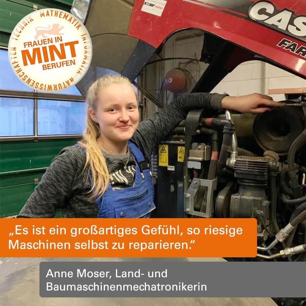 Das Bild zeigt die Land- und Baumaschinenmechatronikerin Anne Moser im Blaumann vor einem Traktor stehend.