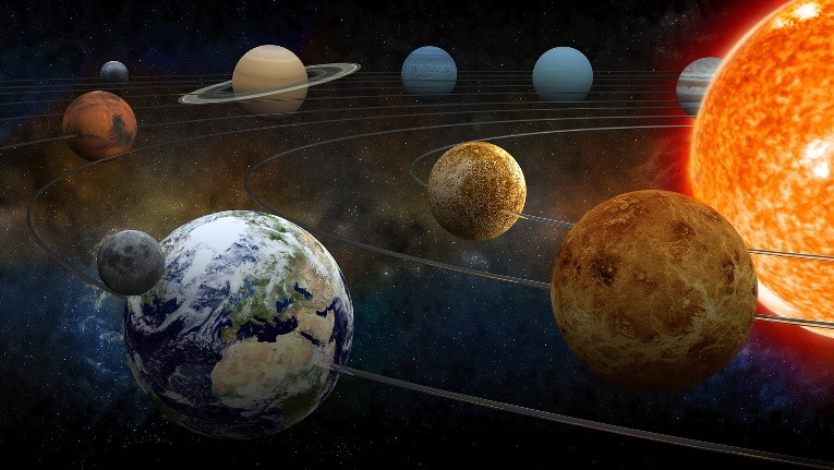 Das Bild zeigt unser Sonnensystem aus dem Weltall.