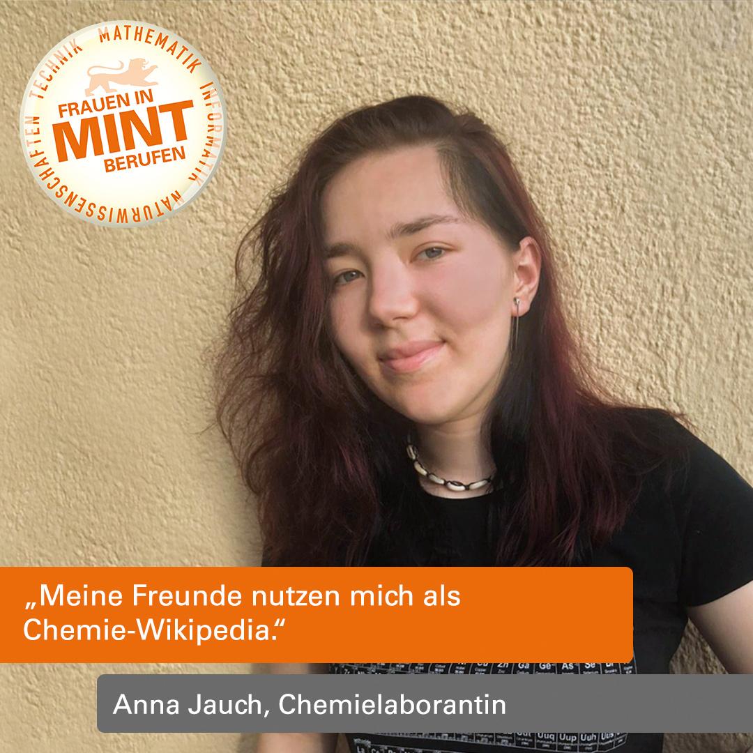 Mit Klick auf dieses Bild der Chemielaborantin Anna Jauch gelangen Sie zum Beitrag.