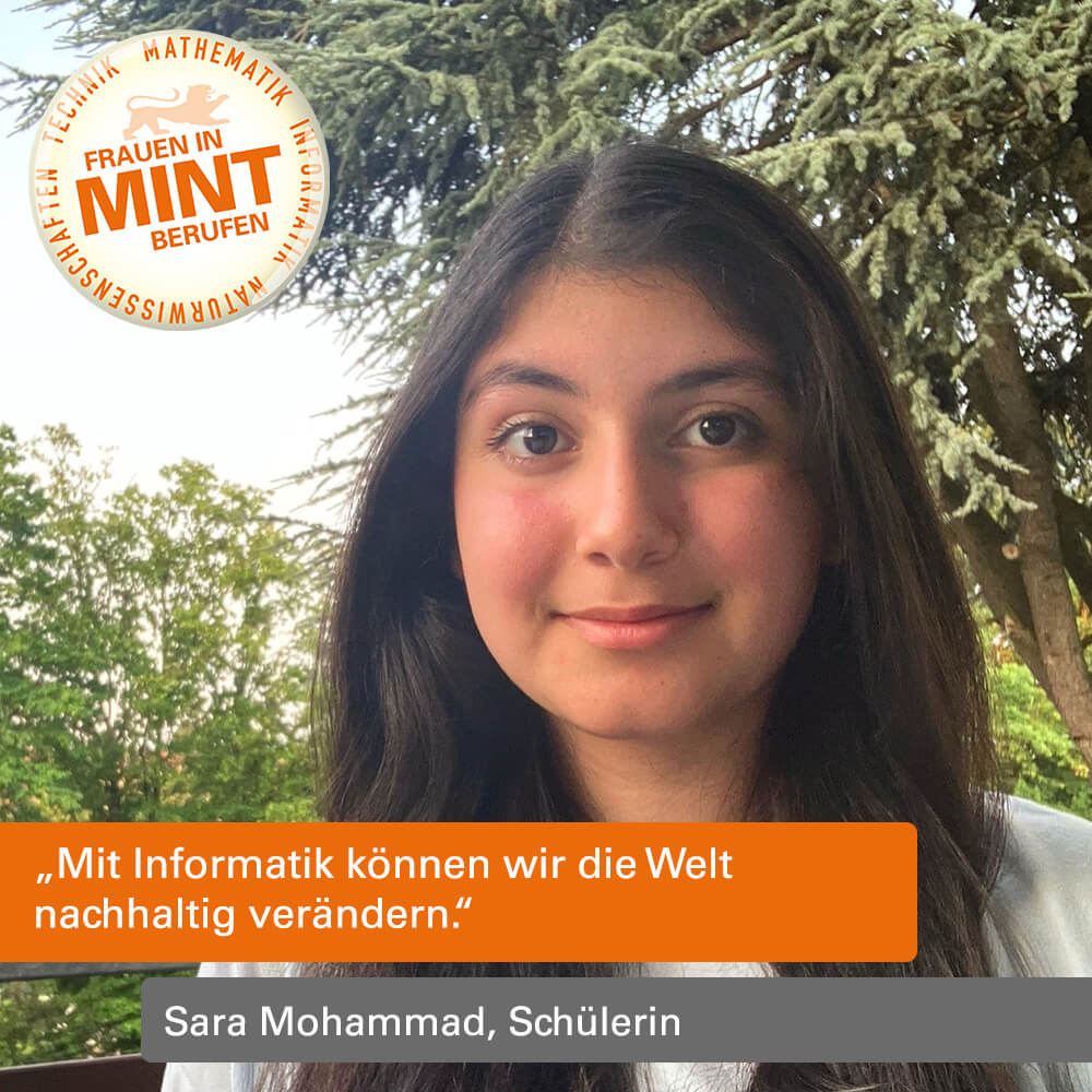 Das Bild zeigt die Schülerin Sara Mohammad in ihrem Garten.